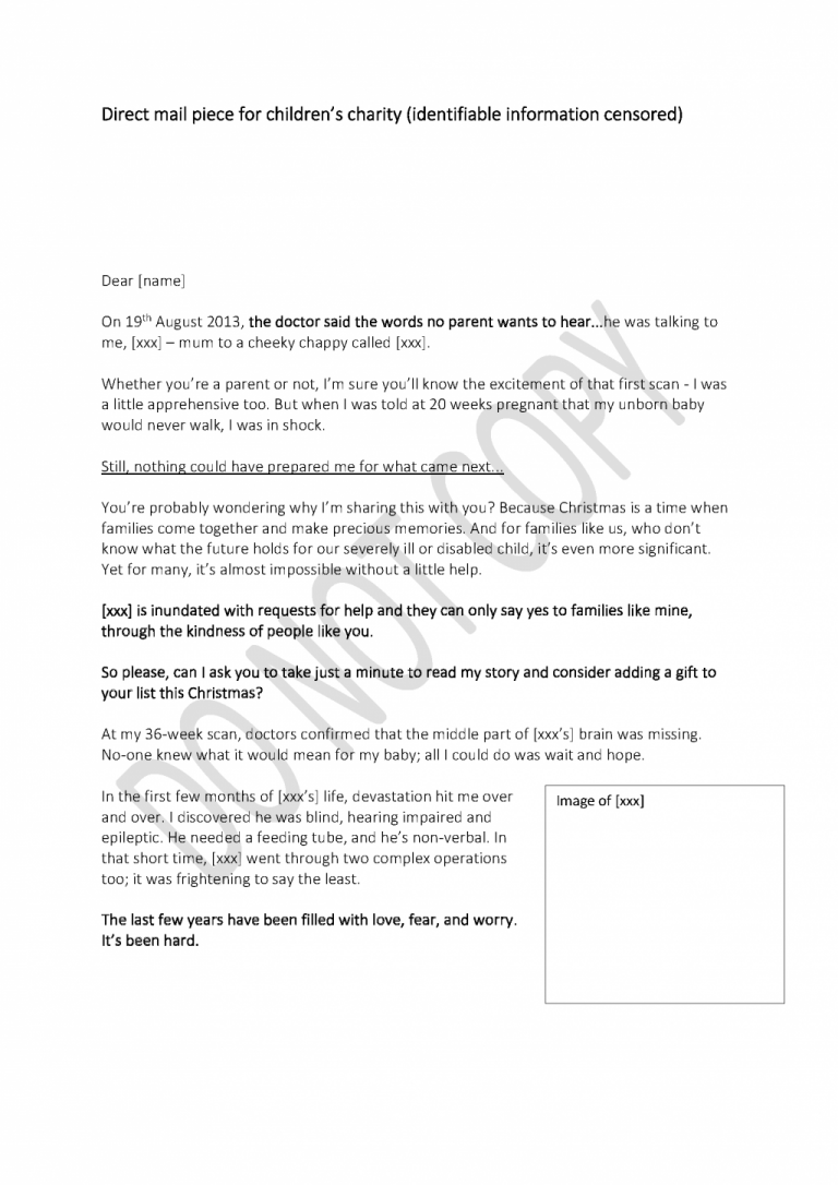 Children's charity: Direct mail letter page 1