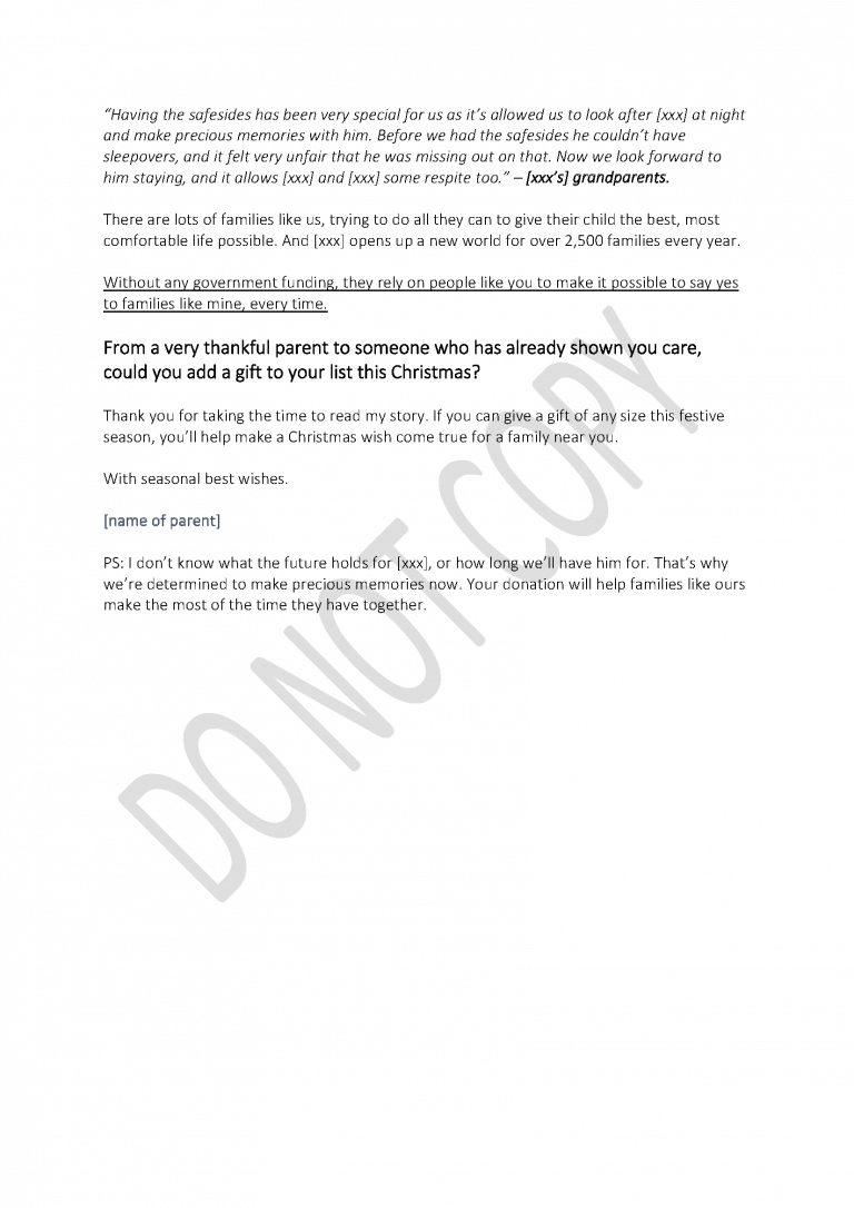 Children's charity: Direct mail letter page 3