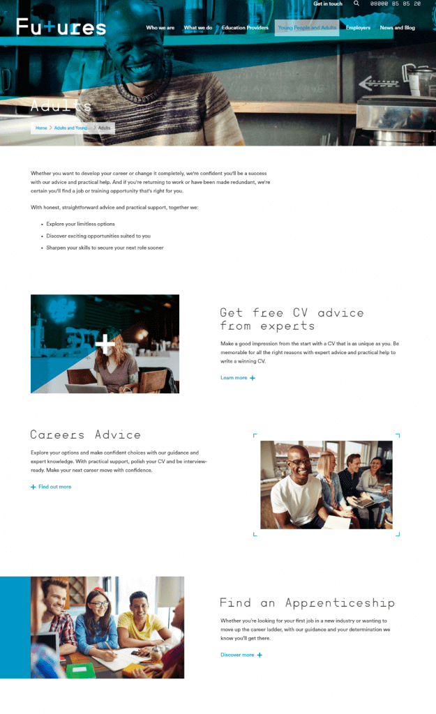 Futures for You website copy: Services for adults