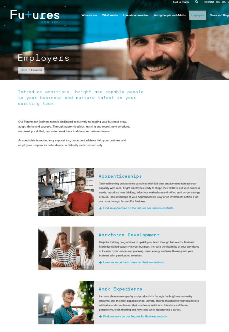 Futures for You website copy: Employers page
