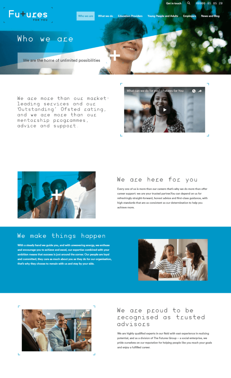 Futures for You website copy: Who we are page
