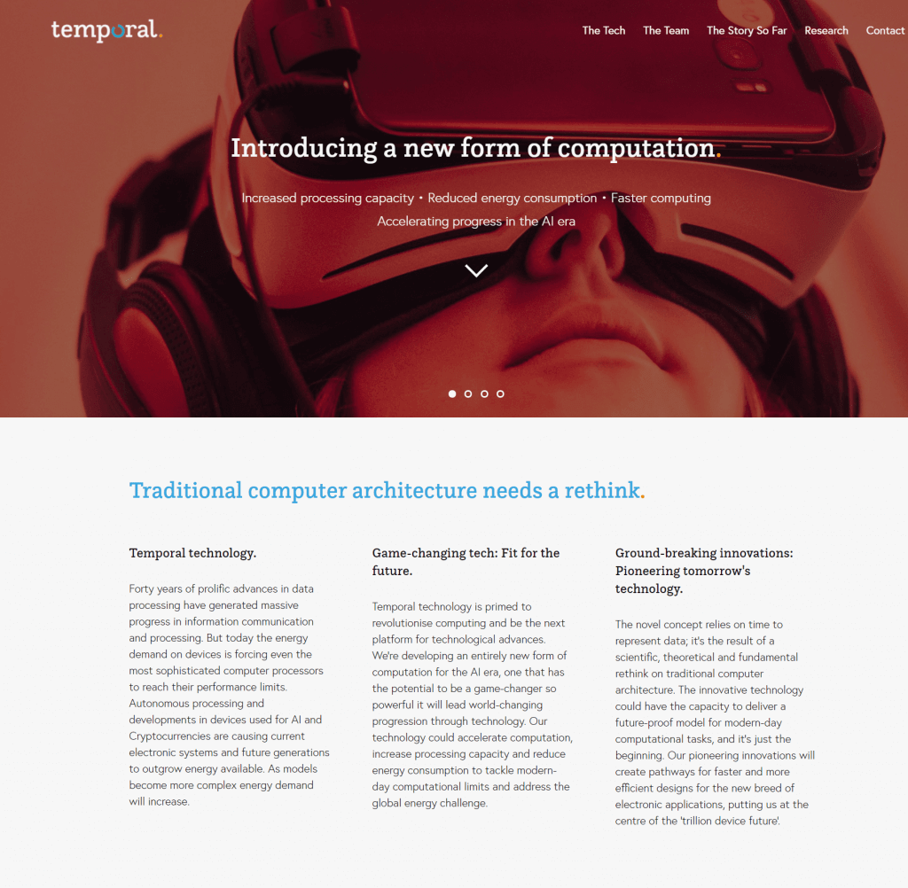 Temporal: Website copywriting top section