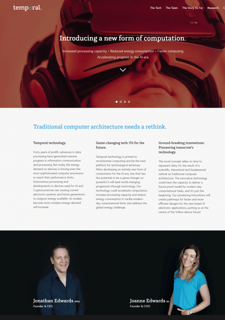 Temporal: Website copy home with founders
