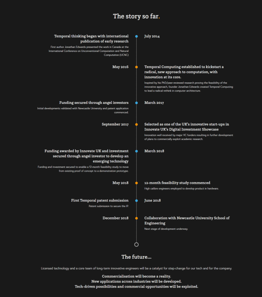 Temporal website copy: Story page
