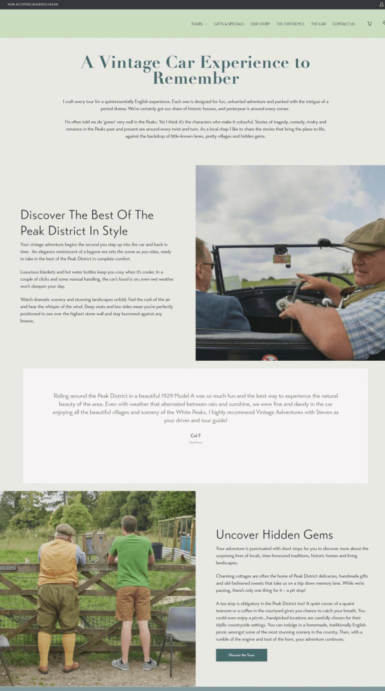 Vintage Adventure Tours website copy: Homepage