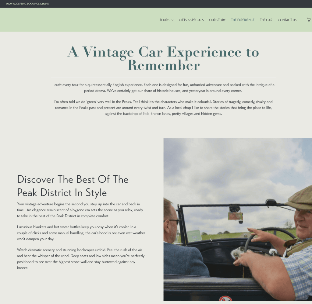 Vintage Adventure Tours website: The Experience page